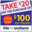 $20 off $100 order Code: 3549