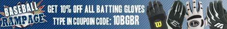 Save 10% off batting gloves at Baseball Rampage