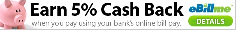 $10 off $50 & 1% cash back when you use eBillme to checkout