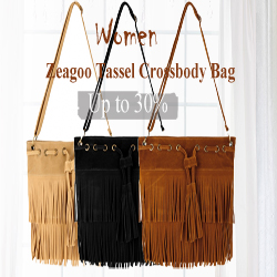 30% OFF For Zeagoo Women Pure Color Tassel Crossbody Bags