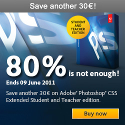 Adobe €30 off Photoshop CS5 Extended Student