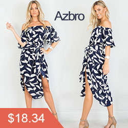 Azbro Hot Sales:off Shoulder Short Sleeve Leaf Print Midi Dress with Belt