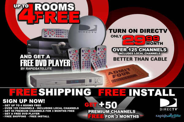 Get a FREE DIRECTV 4 Room System with FREE HBO