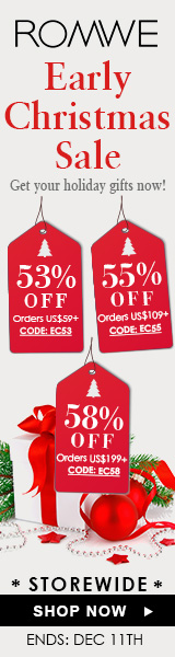 Save up to 58% off during the Early Christmas Sale at ROMWE.com! Click for details – ends 12/11