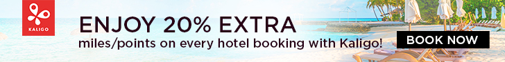 ENJOY 20% EXTRA miles or points on every hotel booking with Kaligo!