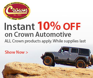 Instant 10% Crown Automotive off-road parts                               on 4WheelParts.com in April.
