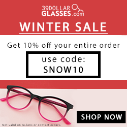 Get $10 OFF every pair of glasses on your order! Use code: WINTER10 Expires 12/31/2016