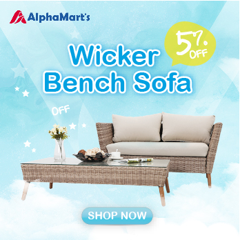 PHI VILLA Patio Gradual Rattan Wicker Sofa