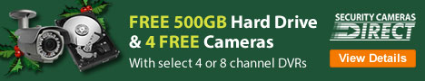 Free 500GB hard drive and four free bullet cameras ($299 value!) with purchase of H.264 Security DVR