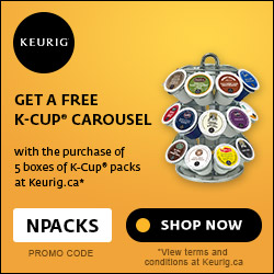 Get a FREE K-Cup Carousel with the purchase of 5 boxes of K-Cup packs