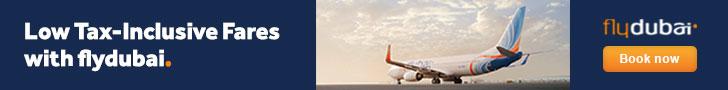 السفر ومقابلة أبو ظبي في رحلة رخيصة - لافتة flydubay 002