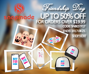 Snapmade 2017 Friendship Day: Up to 50% Off for Orders Over $19.99 -300*250