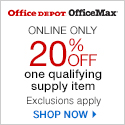 20% off 1 Qualifying Supply Item! Exclusions Apply www.officedepot.com