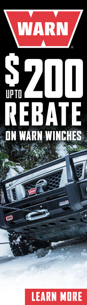 Select WARN winches now up to $150 OFF with mail in rebate.
