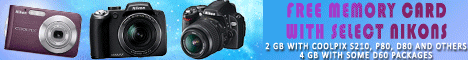 Get a free memory card with select Nikon cameras.