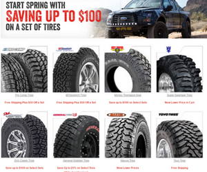 Save up to $100 on your favorite off-road tire brands