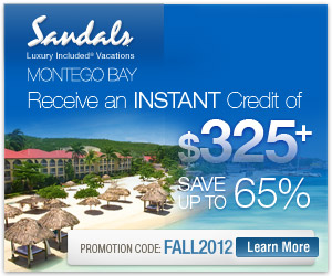 Instant Savings of $325 At Sandals Montego Bay