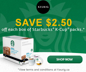 Save $2.50 off each box of Starbucks K-Cup packs.