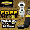 Buy a Smittybilt 6 Inch Drop Ball Mount and get a Receiver Hitch Ball FREE!