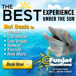 Funjet vacations to Mexico Florida california hawaii las vegas disney last minute vacation deals