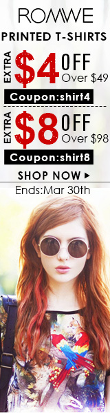 Save up to $8 off printed t-shirt orders $98+ at ROMWE.com.  Ends 3/30.