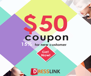 Sign up dresslink account to get a cash coupon of $50
