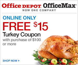 $15 turkey certificate w/ $100 purchase w/ code 43208335 & FREE DELIVERY no min on qualifying orders