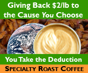 Specialty Roast Coffee donates $2/LB to your cause