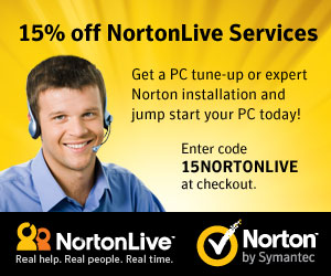 Save 15% off NortonLive Services