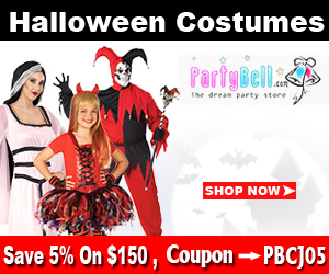 Upto 40% Off on Halloween costumes on PartyBell.com. Additional 5% Off on $150 using coupon