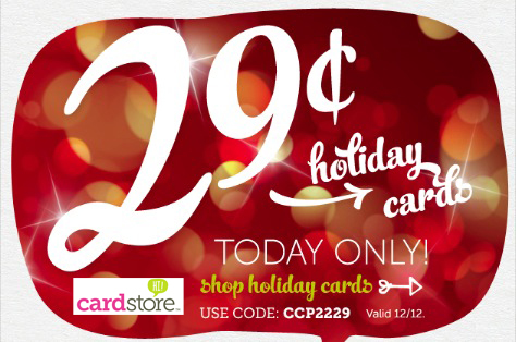 1 DAY ONLY! 12/12/12! 29¢ Holiday Cards + Free Shipping at Cardstore!