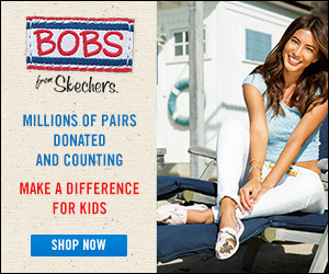 SKECHERS donates new shoes to children in need when you purchase BOBS for men, women and kids.