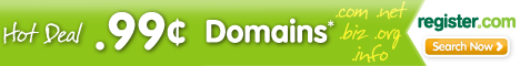 Limited Time Only 99 Cent Domains from Register.com