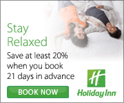 Book at least 21 days in advance and save 20%