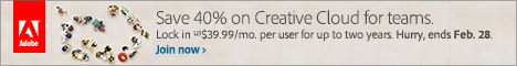 CC Team - Lock in US$39.99/mo. for two years. Save up to 40% on Creative Cloud for Teams!