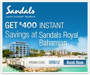 $400 Instant Credit At Sandals Royal Bahamian