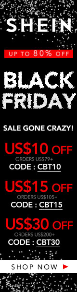 160x600 Black Friday! Sale Gone Crazy... Get $30 off orders $200+ with coupon code CBT30  at SheIn.com! Ends 11/26