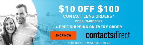 $10 Off $100 On Contacts Lenses + Free Shipping. Enter Code TAKE10OFF At Checkout. Exclusions Apply.