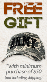 Free ARMY Hat With Purchase of $50.00 or more!