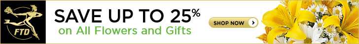 Save up to 25% on all Flowers and Gifts 728 x 90