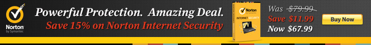 15% off Norton Internet Security 728x90 - Direct to Cart
