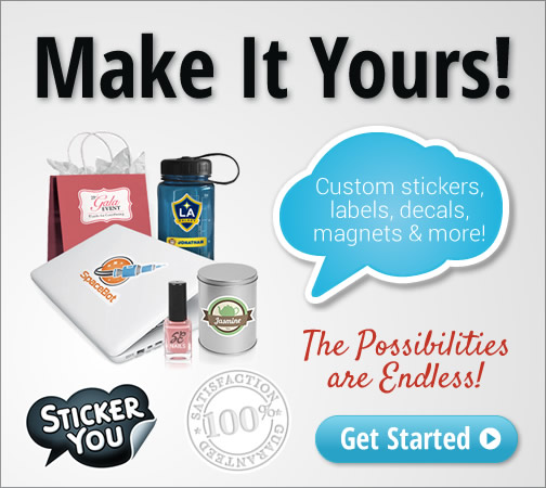 Make it Yours! Get Custom Stickers, Labels, Decals, Magnets & more from StickerYou. Customize yours