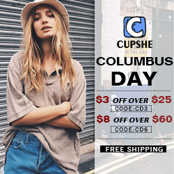 Columbus Day! $3 OFF Over $25 Code:CD3;$8 OFF Over $60 Code:CD6!