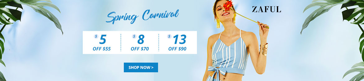 ZAFUL Spring Carnival Sale: $5 OFF $55, $8 OFF $70 and $13 OFF $90