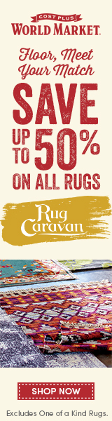 Save up to 50% on ALL Rugs. Excludes One of a Kind Rugs.