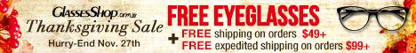 Thanksgiving Sale. Free eyeglasses +free shipping!