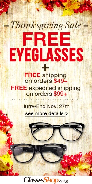 Thanksgiving Sale. Free eyeglasses +free shipping!