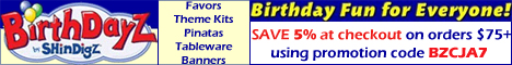 Save 5% on orders $75+ with BirthdayZbyShindigZ