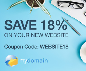 Save 18% off your New Website at MyDomain.com! Use Code: WEBSITE18, Start Now!