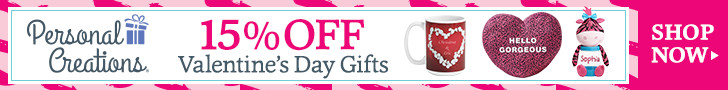 15% Off Personalized Valentine's Day Gifts - 728 x 90